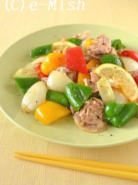 豚肉とカラフルピーマンのレモンペッパー炒め